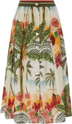Agua de Coco Printed Cotton-Poplin Midi Skirt
