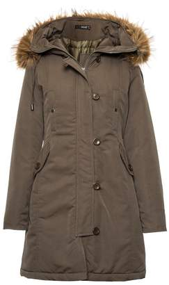 Quiz Khaki Canvas Faux Fur Trim Jacket