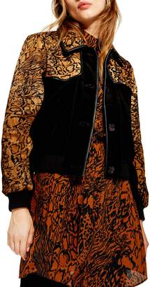 Topshop Animal Print Leather & Genuine Calf Hair Jacket