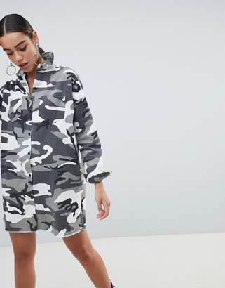 Missguided shirt dress in camo