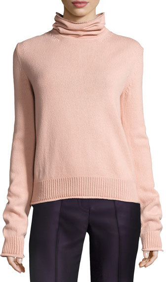 Nina Ricci Nina Ricci Knit Open-Back Turtleneck Sweater, Light Pink