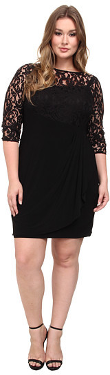 Adrianna PapellAdrianna Papell Plus Size Rose Flounce Dress w/ Lace Combo