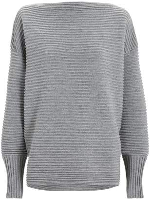 Victoria, Victoria Beckham Grey Rib Off Shoulder Sweater