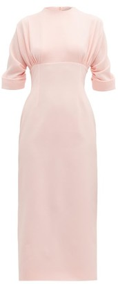 Emilia Wickstead Helga Gathered Cloque Midi Dress - Womens - Light Pink