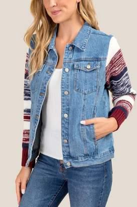 francesca's Justine Sweater Sleeve Denim Jacket - Medium Wash