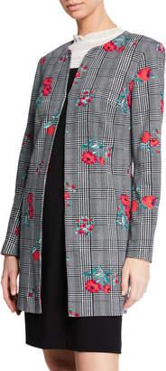 Karl Lagerfeld Paris Plaid & Floral Print Topper Jacket