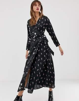 Lightning Bolt ASOS DESIGN wrap maxi dress in star and print