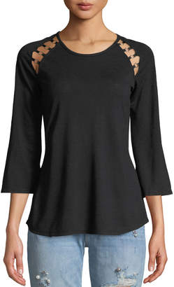 Love Scarlett Ring-Trimmed Raglan-Sleeve Blouse