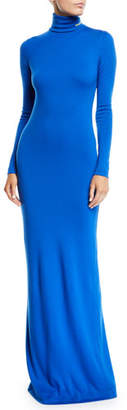 Calvin Klein Turtleneck Long-Sleeve Body-Con Wool-Jersey Evening Gown