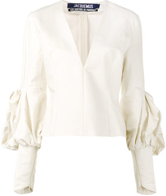 White V Neck Fitted Blouse