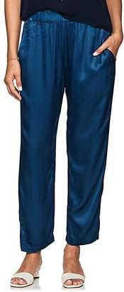 Raquel Allegra Women's Textured Satin Crop Pants - Blue