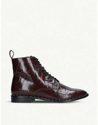 Kurt Geiger Tilda mock croc leather ankle boots