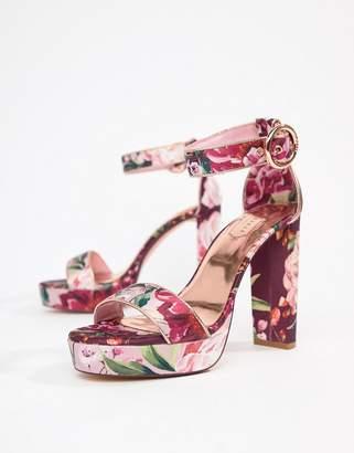 aa8aedd1b640d Ted Baker Floral Printed Platform Block Heeled Sandals