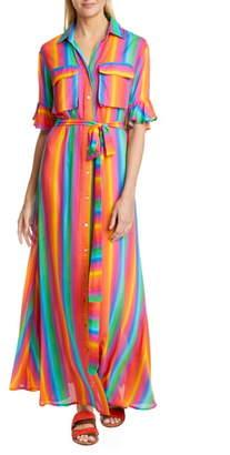 All Things Mochi Leilani Stripe & Floral Linen Maxi Shirtdress