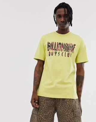 Billionaire Boys Club pigment dyed fish camo logo t-shirt in yellow