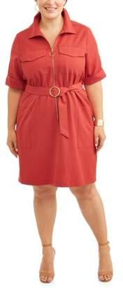 Lifestyle Attitude Women's Plus 3/4 Sleeve Zipper Front Wear to Work Shirtdress