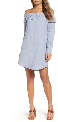 Women's Charles Henry Off The Shoulder Shirtdress $99 thestylecure.com
