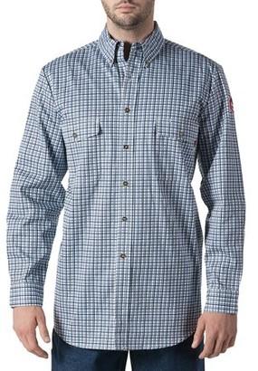 Walls Big Men's Flame Resistant Plaid Work Shirt, HRC Level 2
