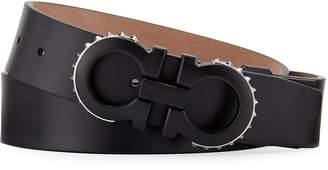 Salvatore Ferragamo Men's Spiked Matte-Gancini Leather Belt, Black