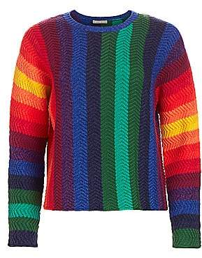 Alice + Olivia Women's Dessie Racked Rib-Knit Pullover