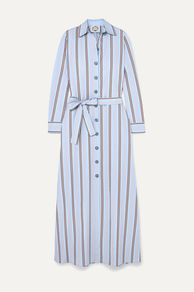 Evi Grintela Valerie Belted Striped Cotton-poplin Maxi Dress - Blue