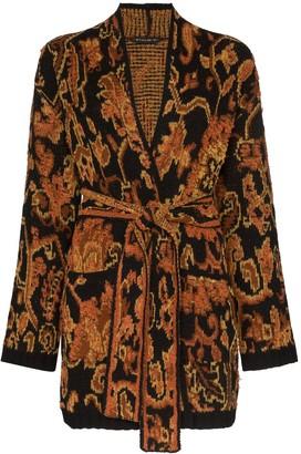 Etro Ikat intarsia knit wrap cardigan