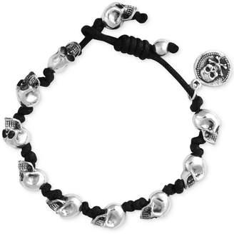 King Baby Studio Men's Skull Knotted Cord Bracelet in Sterling Silver