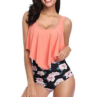 854318fb50c67 GONKOMA Swimsuit GONKOMA Womens Two Piece Plus Size Swimsuit Tankini Top  Backless Halter Floral Printed Swimwear