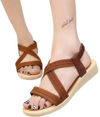 885a55f05b80 at Amazon Canada · PeepToe ANBOO Women Bohemia Sandals Bandage Leisure  Elastic Flat Peep-Toe Outdoor Shoes (US