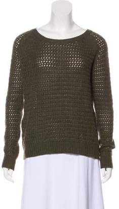 360 Cashmere Wool Crew Neck Sweater Olive Wool Crew Neck Sweater