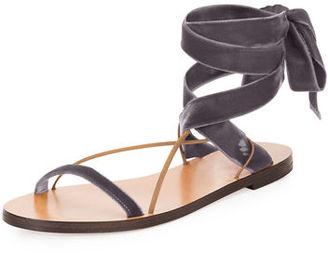 Valentino Garavani Velvet Lace-Up Flat Sandal $595 thestylecure.com