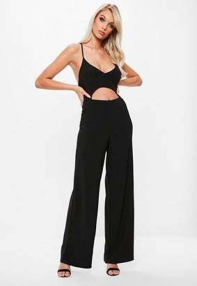 Missguided Black Cut Out Cross Back Wide Leg Romper