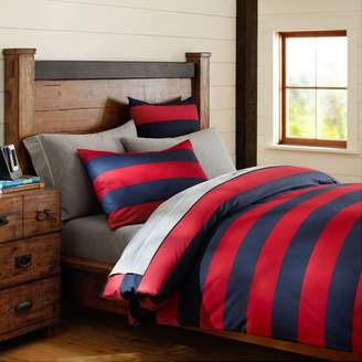 Pottery Barn Teen Rugby Stripe Duvet, Twin/Twin XL, Navy/ Red