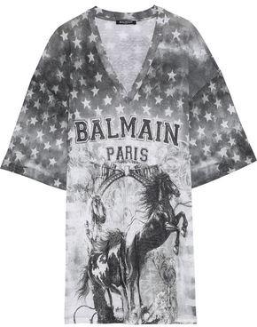 Balmain Oversized Distressed Printed Linen-Jersey T-Shirt