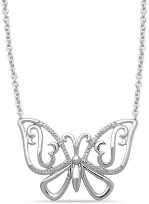 """Zales Open Hearts by Jane Seymoura 1/20 CT. T.W. Diamond Butterfly Necklace in Sterling Silver - 17"""""""