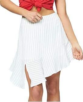 MinkPink Stripe Asymmetric Mini Skirt