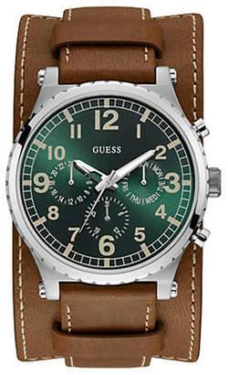 GUESS Brown Leather 2in1 Cuff/Strap Watch U1162G1