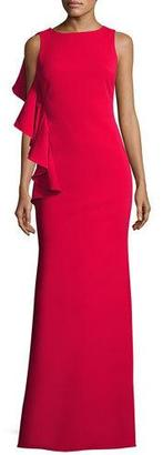 Badgley Mischka Sleeveless Stretch Crepe Ruffle-Trim Gown, Red $595 thestylecure.com