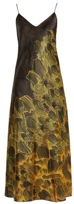 Adriana Iglesias - Jadi Floral Print Stretch Silk Slip Dress - Womens - Black Gold