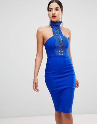 Rare London High Neck Crochet Detail Pencil Dress