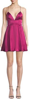 Fame & Partners The Delta Silk Charmeuse V-Neck Satin Dress