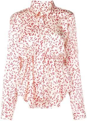 Aalto abstract print gathered shirt