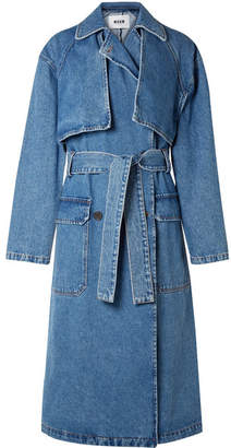MSGM Oversized Denim Trench Coat - Mid denim