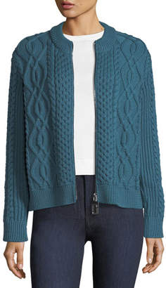 Marc Jacobs Zip-Front Crewneck Cable-Knit Merino Wool Cardigan
