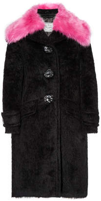 Faux Fur-trimmed Alpaca And Wool-blend Coat - Black