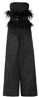 Semsem Feather And Sequin-embellished Devore-organza Jumpsuit - Black