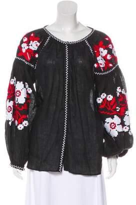 Vita Kin Embroidered Linen Blouse