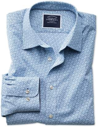 Charles Tyrwhitt Classic Fit Non-Iron Poplin Light Blue Floral Print Cotton Casual Shirt Single Cuff Size Medium