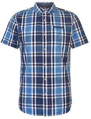 Soul Cal SoulCal Mens Short Sleeve Check Shirt Casual Cotton Chest Pocket Fold Down