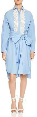 Sandro Cox Lace-Inset Tie-Front Shirt Dress